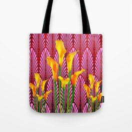 GOLDEN CALLA LILIES & RED ART DECO ART Tote Bag