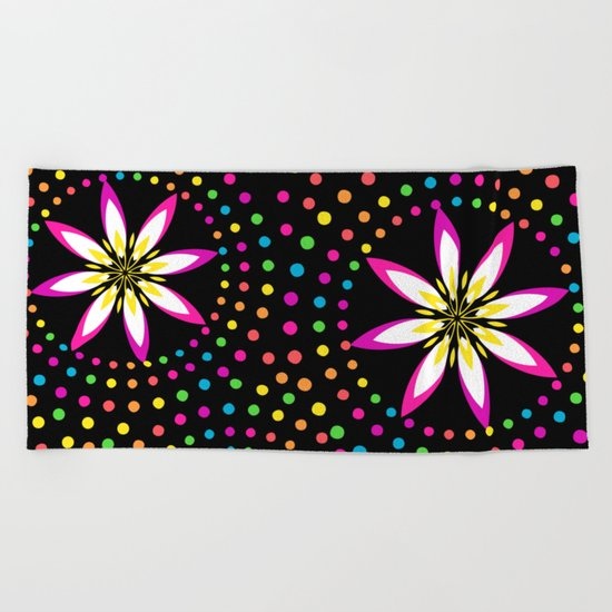 Floral Colorful Circles Beach Towel