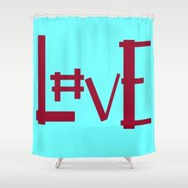 Baby Blue Hashtag L0ve Shower Curtain