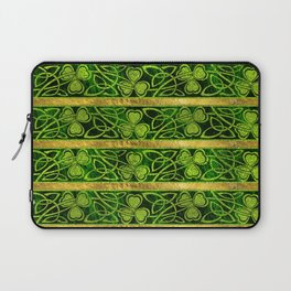 Irish Shamrock -Clover Gold and Green pattern Laptop Sleeve