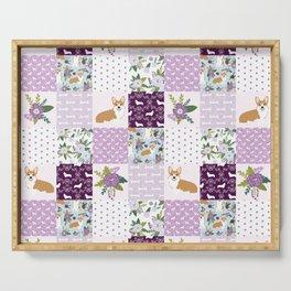 Corgi Patchwork Print - purple ,florals , floral, spring, girls feminine corgi dog Serving Tray