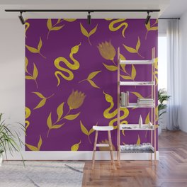 Golden snakes, blooming summer pink roses and lush leaves modern botanical and animal elegant distressed dark moody plum purple design. Wall Mural