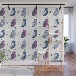 Blue birds with wild flowers Wall Mural