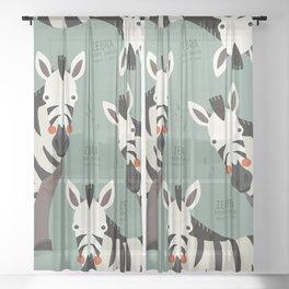 Zebra, African Wildlife Sheer Curtain