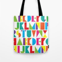 alphabet Tote Bags featuring Alphabet by Rachel Lee