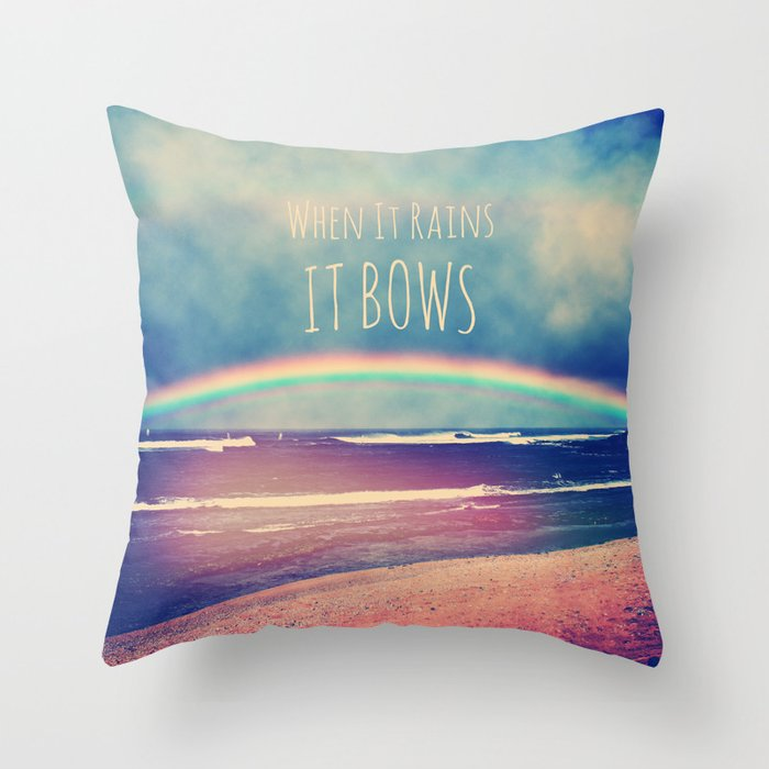 When It Rains, It Bows Throw Pillow by deeptimunshaw Society6