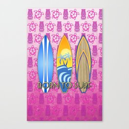 Born To Surf Pink Tikis Canvas Print