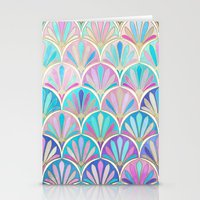 deco Stationery Cards featuring Glamorous Twenties Art Deco Pastel Pattern by micklyn