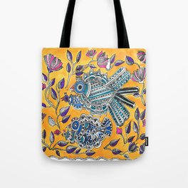 Madhubani - Blue Yellow Bird Tote Bag