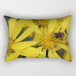 Busy Bumble Bee on Yellow Flowers Rectangular Pillow