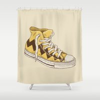 sneaker Shower Curtains featuring Chuck by Terry Fan