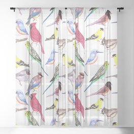 Watercolor spring birds Sheer Curtain