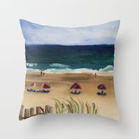 Throw Pillows featuring Daytona Beach by Maria DeRosa
