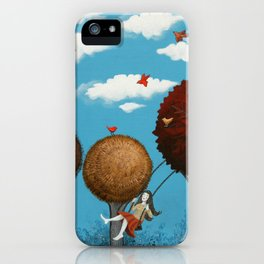 Happy girl among the trees iPhone Case