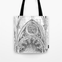 gothic Tote Bags featuring gothic by Tereza Del Pilar
