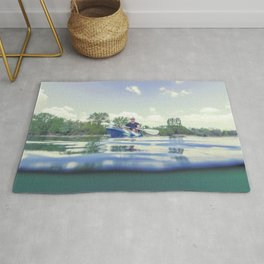 Young Man Kayaking on Lake, Kayaking Underwater View, Split Shot. Rug