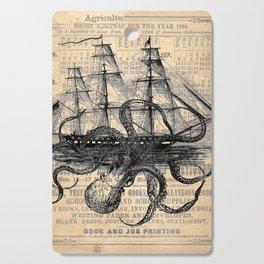Octopus Kraken attacking Ship Antique Almanac Paper Cutting Board