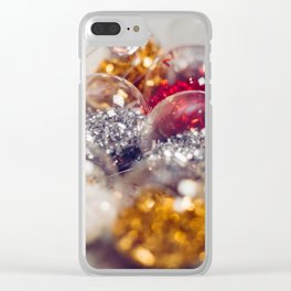 Glitter Christmas Ornaments (Color) Clear iPhone Case