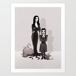 Morticia and Wednesday Art Print