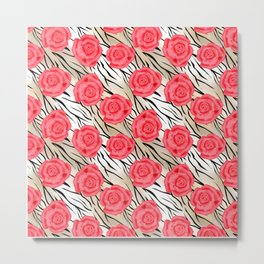 Red roses on a light tiger background . Metal Print