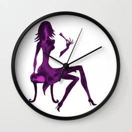 DIVA WITH make up brush - PAINTED - Gorgeous VIOLET Wall Clock