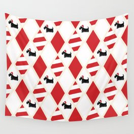 Scottie Dog Christmas Pattern Wall Tapestry