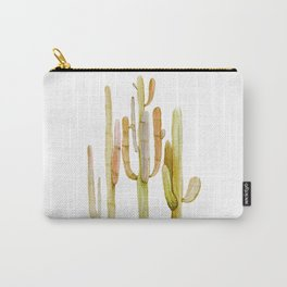 Minimalist Cactus Drawing Watercolor Painting Southwestern Green Cacti Carry-All Pouch