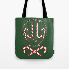 Candy Cane Holiday Skull Tote Bag