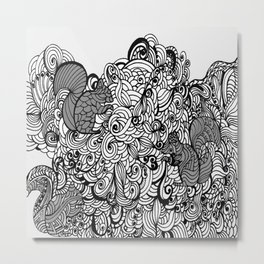Squirrels Zentangle Drawing White Metal Print