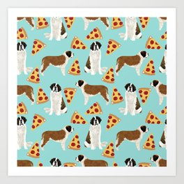 Saint Bernard pizza slices funny cute dog gifts for dog lover unique dog breeds Art Print