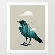 Teal Raven Art Print