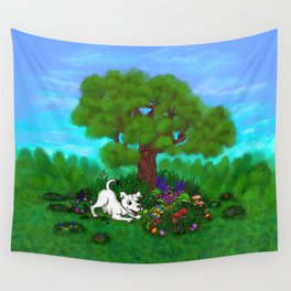 Easter - Spring-awakening - Puppy Capo and Butterfly Wall Tapestry