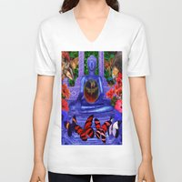 nirvana V-neck T-shirts featuring Reaching Nirvana Gautama Buddha by Joseph Mosley