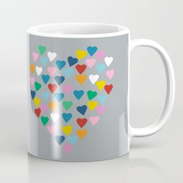 Hearts Heart Multi Grey Coffee Mug