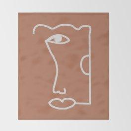 Woman Face, Burnt Orange, Minimal Line Drawing Throw Blanket