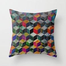 Vintage Geometric Cubes Throw Pillow