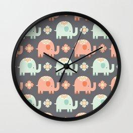 tribal elephant pattern Wall Clock