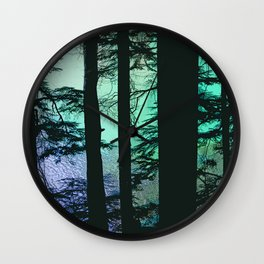 RIPPLED WATER AND HEMLOCK SILHOUETTES Wall Clock