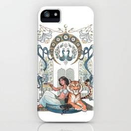 Every Girl Is A Princess 03: Arabian Nights Art Nouveau Aladdin's Princess Jasmine and Rajah iPhone Case
