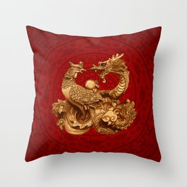Phoenix and Dragon - on red Throw Pillow