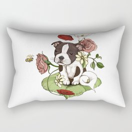 Boston Terrier Puppy Bouquet Rectangular Pillow