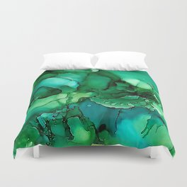 Into the Depths of Sea Green Mysteries Duvet Cover