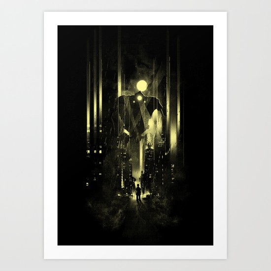 Giant robot and the kid Art Print