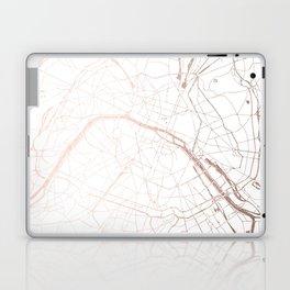 Paris France Minimal Street Map - Rose Gold Glitter Laptop & iPad Skin