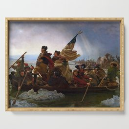 George Washington Crossing Of The Delaware River Painting Serving Tray