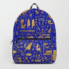 Ancient Egyptian hieroglyphs -Lapis Lazuli and Gold Backpack