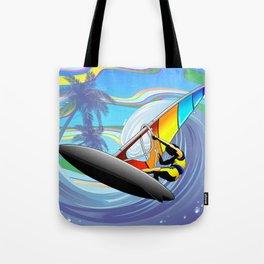 Windsurfer on Ocean Waves Tote Bag