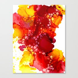 Red & yellow abstract ink art Canvas Print