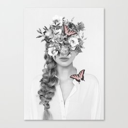 woman with flowers and butterflies 9a Canvas Print