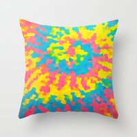 tie dye Throw Pillows featuring Tie Dye by Jillian Stanton
